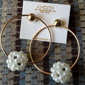 Amrita Singh Pearl Ball Hoop Earrings